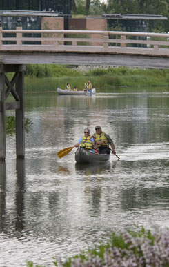 PHOTO: Canoeing in front of the Plant Science Center.