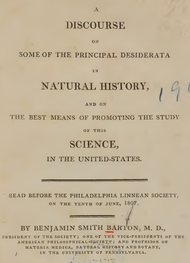 "PHOTO: Title page of Barton's ""Discourse."""