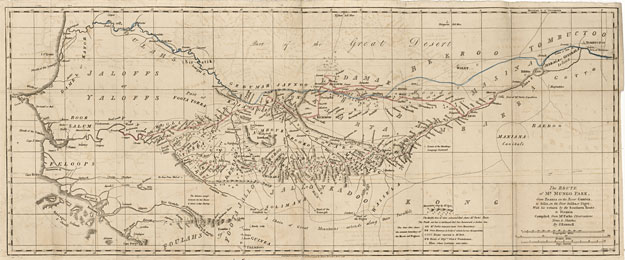 PHOTO: Map of Mungo Park's expeditions. Click image for a larger view.