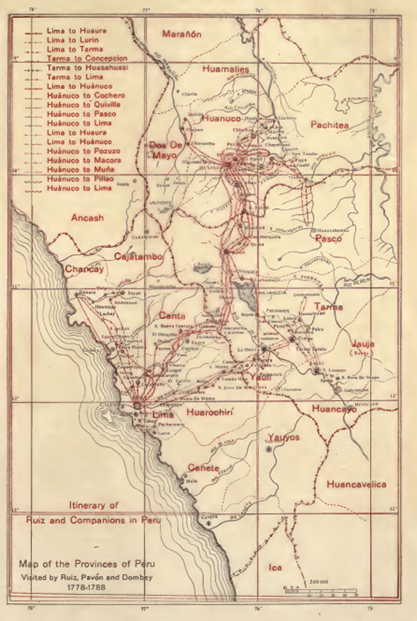 ILLUSTRATION: Map of Ruiz and Pavón's travels in Peru.