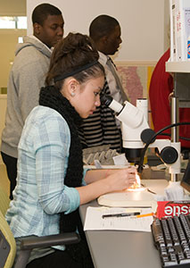 PHOTO: A student works in the microscopy lab.