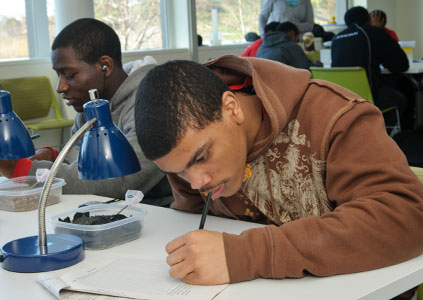 PHOTO: A high-schooler charts soil data in the classroom.