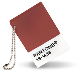 "PHOTO: Pantone chip color ""Marsala"""