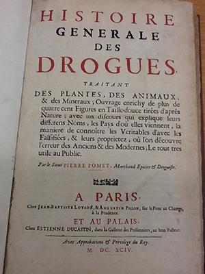 """Title page of """"Histoire Generale des Drogues"""" by Pomet"""