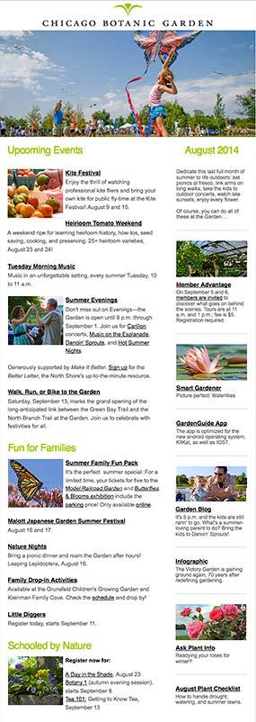 E mail signup chicago botanic garden for Chicago botanic garden membership