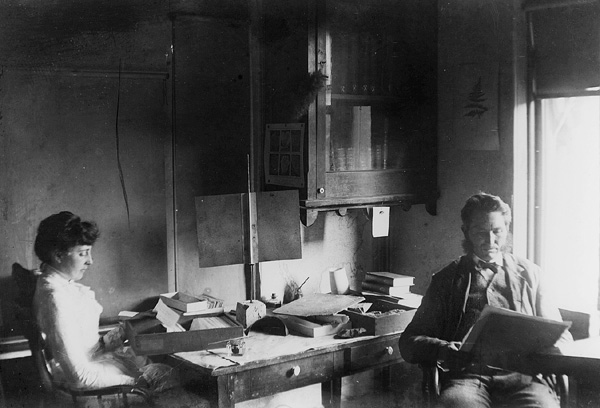 PHOTO: Lester Frank Ward in his office with Miss Moorehead in 1886.